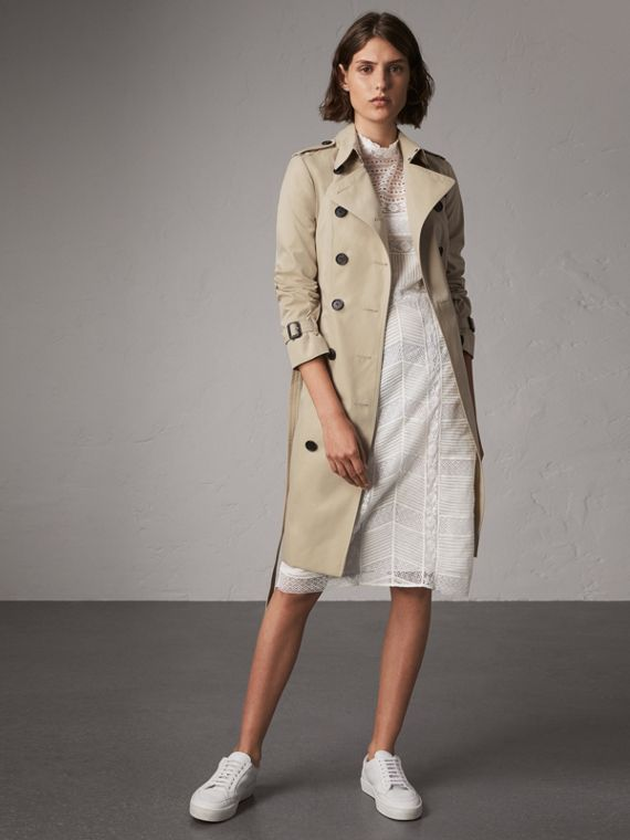 The Sandringham – Long Trench Coat in Stone
