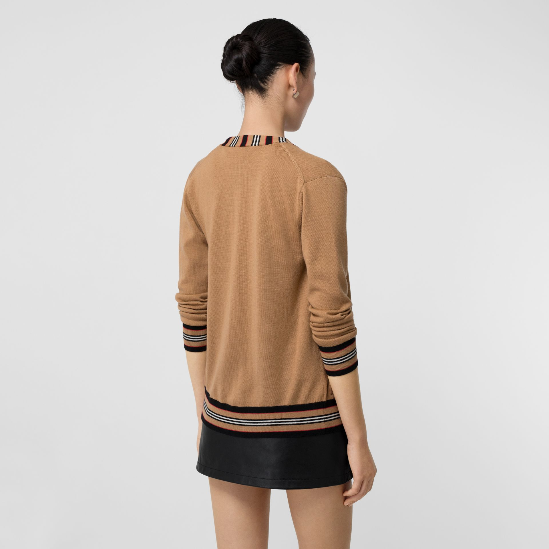 Icon Stripe Detail Merino Wool Cardigan in Camel - Women | Burberry - gallery image 2