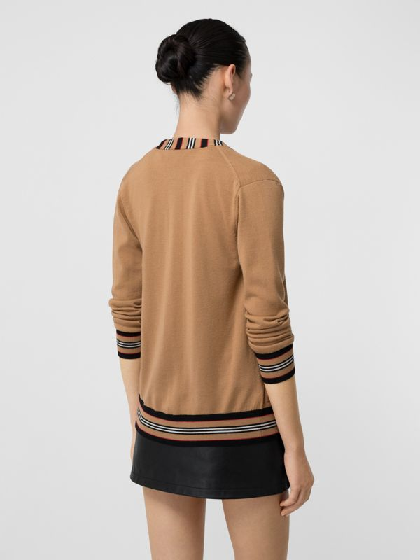Icon Stripe Detail Merino Wool Cardigan in Camel - Women | Burberry Canada - cell image 2