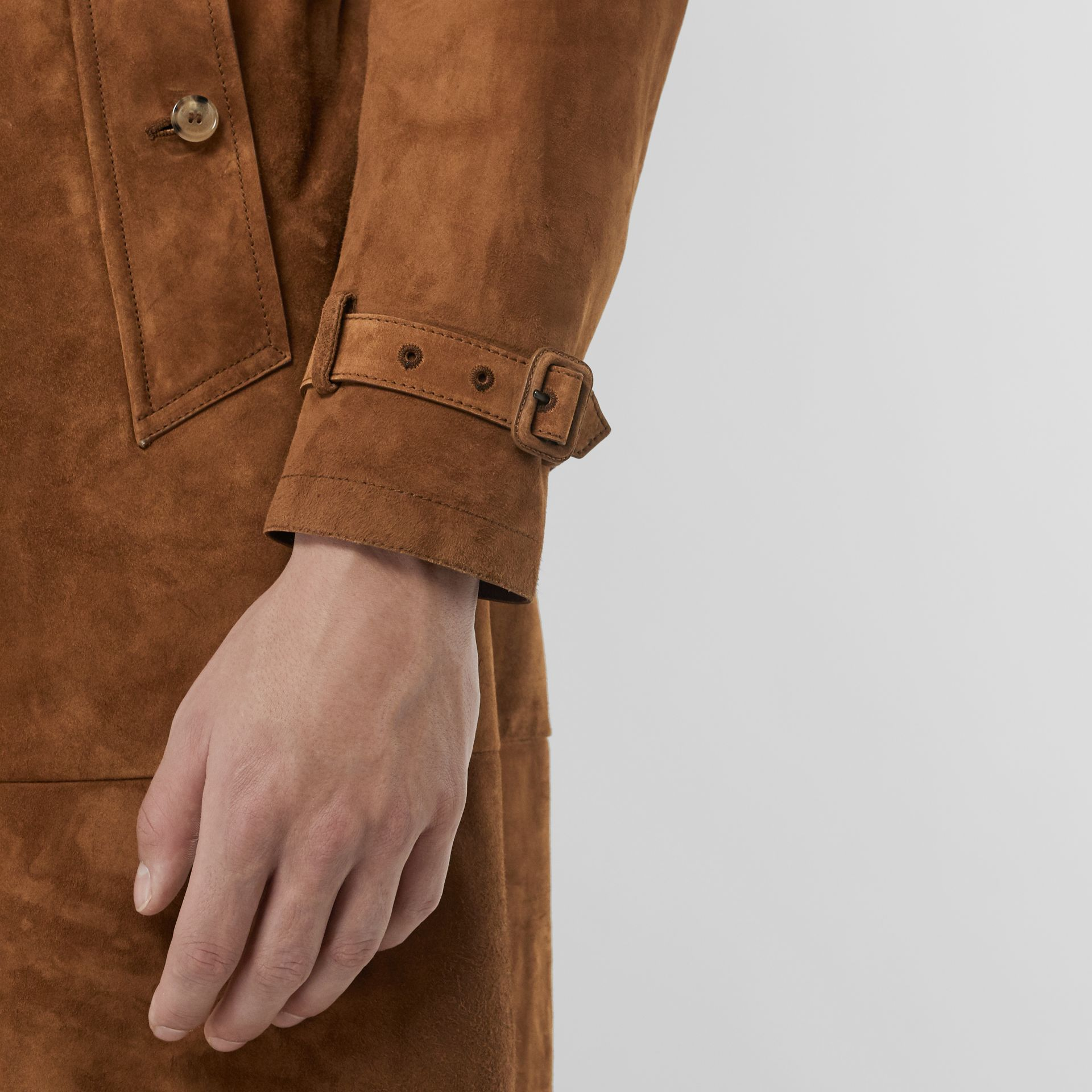 Suede Trench Coat in Sepia Brown - Men | Burberry Australia - gallery image 4