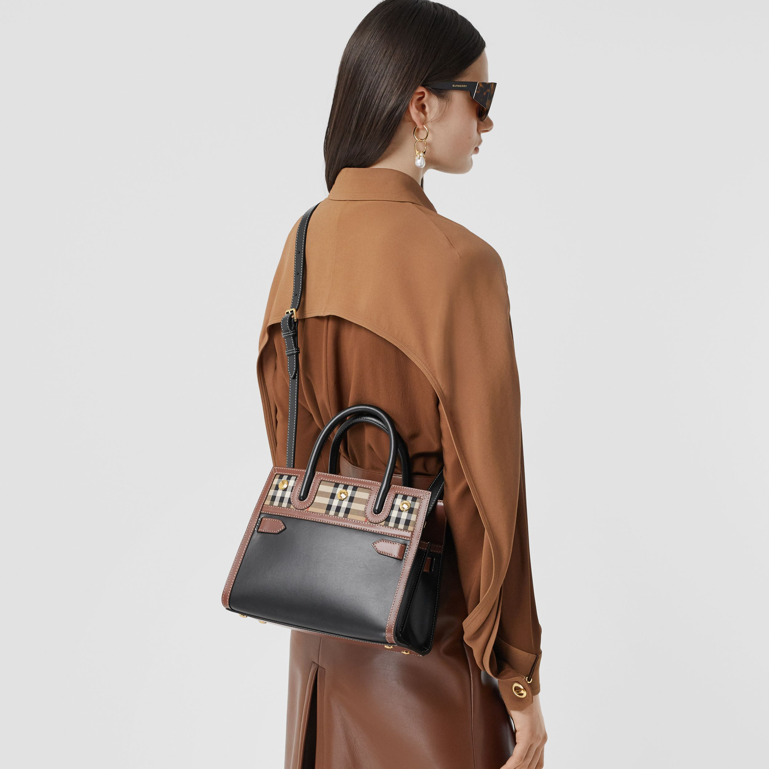 Mini Leather and Vintage Check Two-handle Title Bag in Black - Women | Burberry United Kingdom - 3