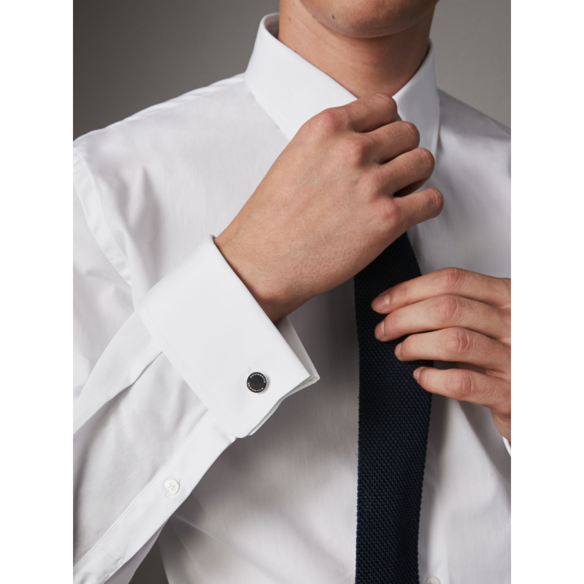 Modern Fit Double-cuff Cotton Poplin Shirt in White - Men | Burberry - gallery image 5