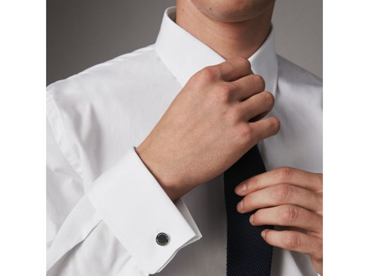 Modern Fit Double-cuff Cotton Poplin Shirt in White - Men | Burberry Canada - cell image 4