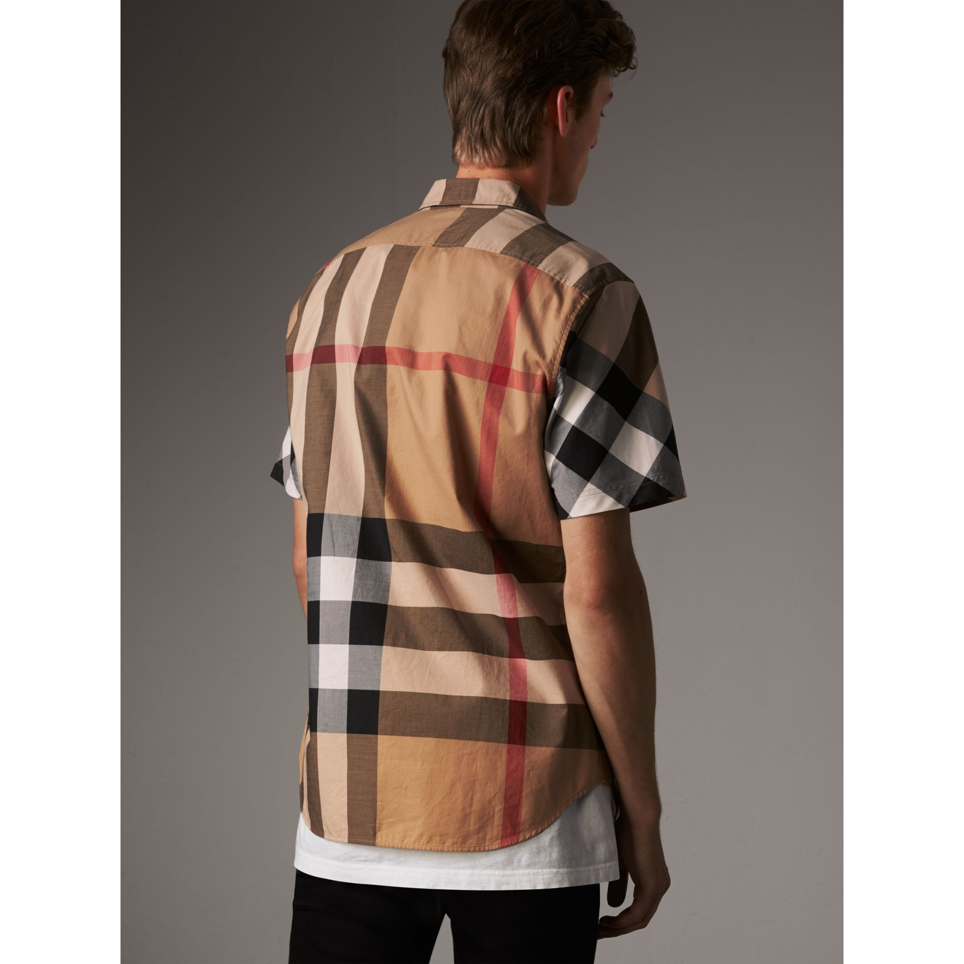 Short-sleeve Check Stretch Cotton Blend Shirt in Camel - Men | Burberry Singapore - gallery image 3