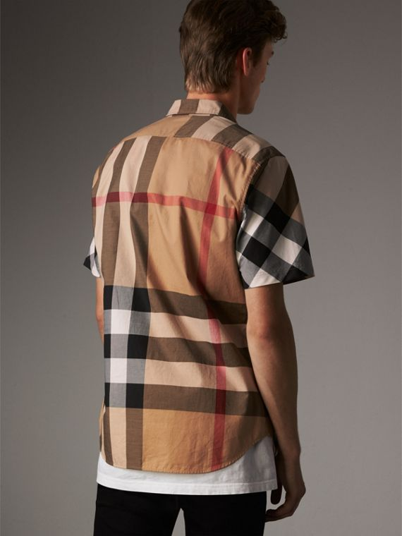 Short-sleeve Check Stretch Cotton Blend Shirt in Camel - Men | Burberry Singapore - cell image 2