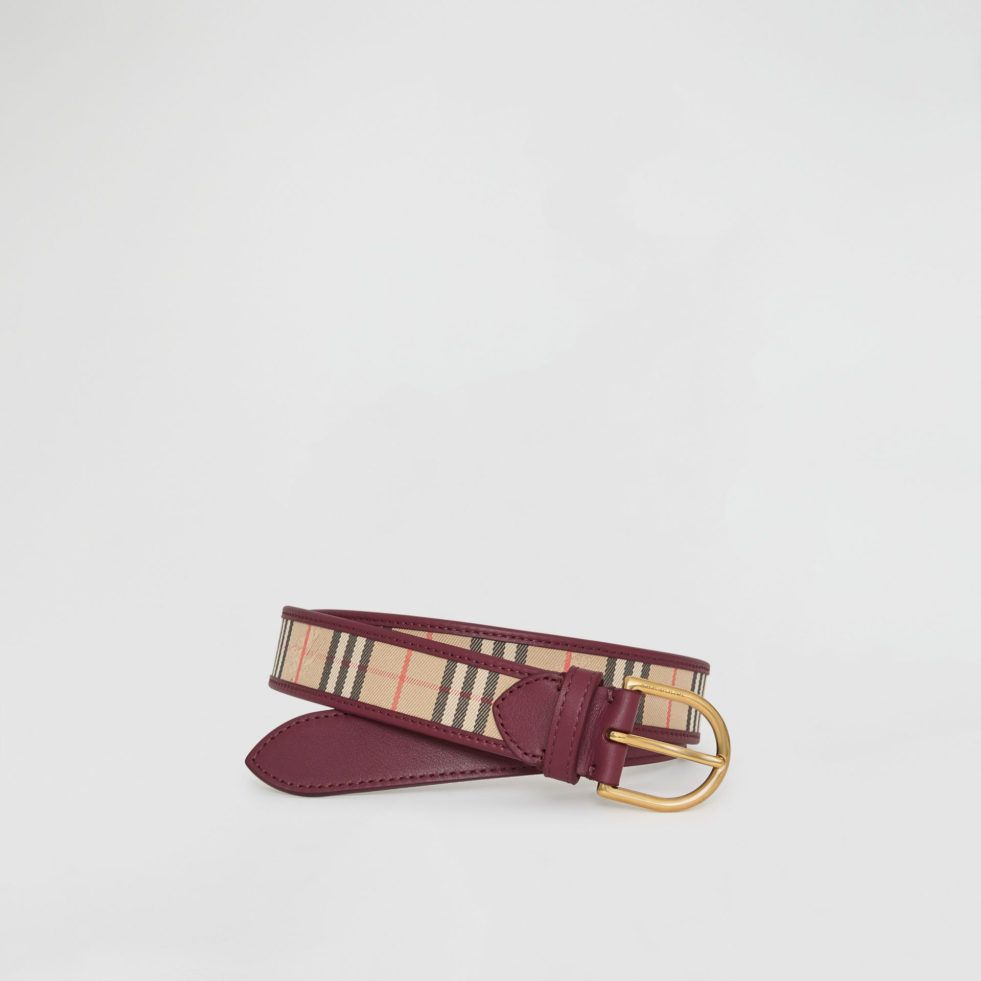 D-ring Buckle 1983 Check and Leather Belt in Antique Red - Men | Burberry Australia - gallery image 0