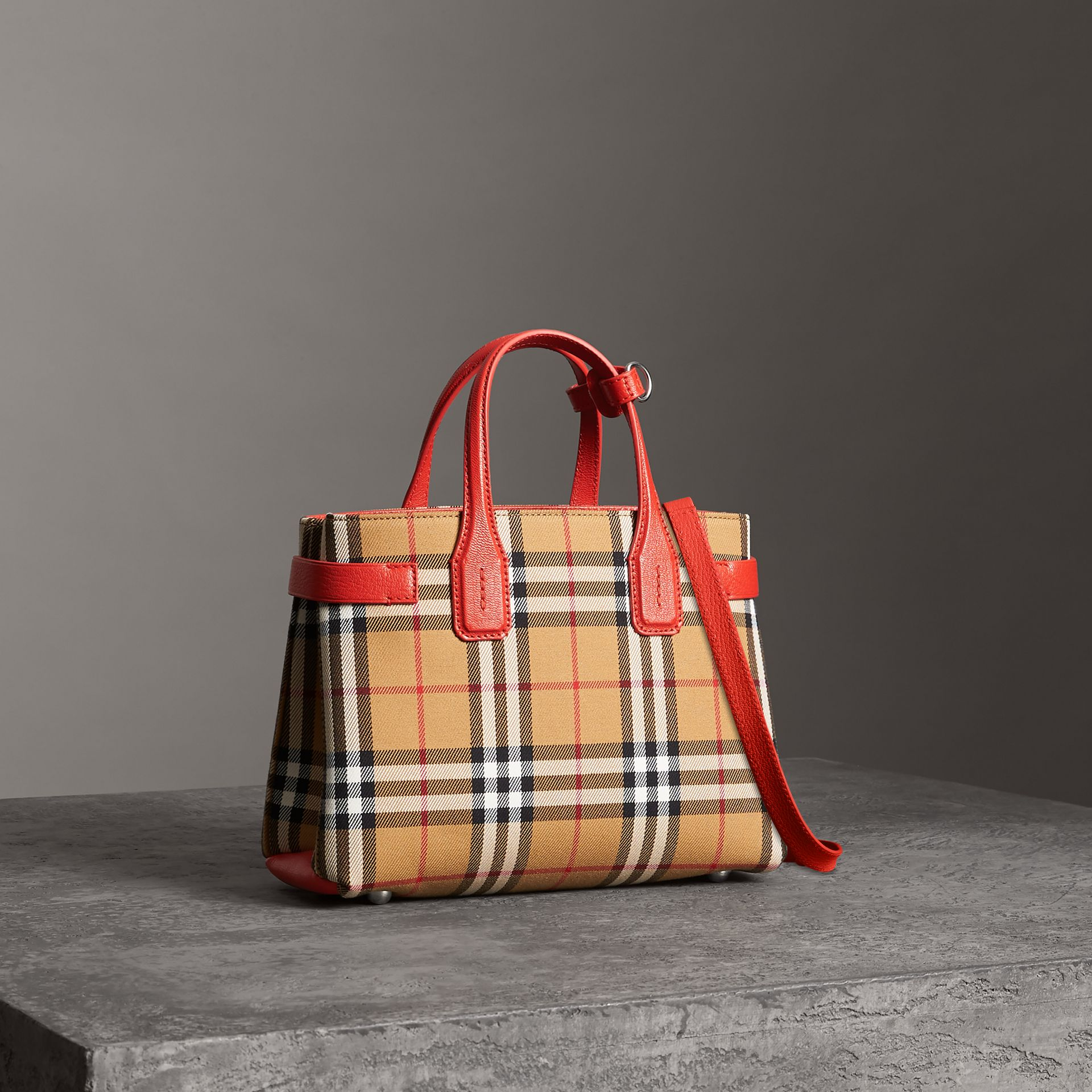 The Small Banner in Vintage Check and Leather in Bright Red - Women | Burberry - gallery image 0