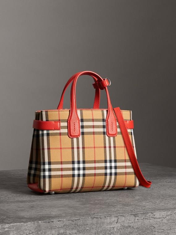 Petit sac TheBanner en cuir et à motif Vintagecheck (Rouge Vif)