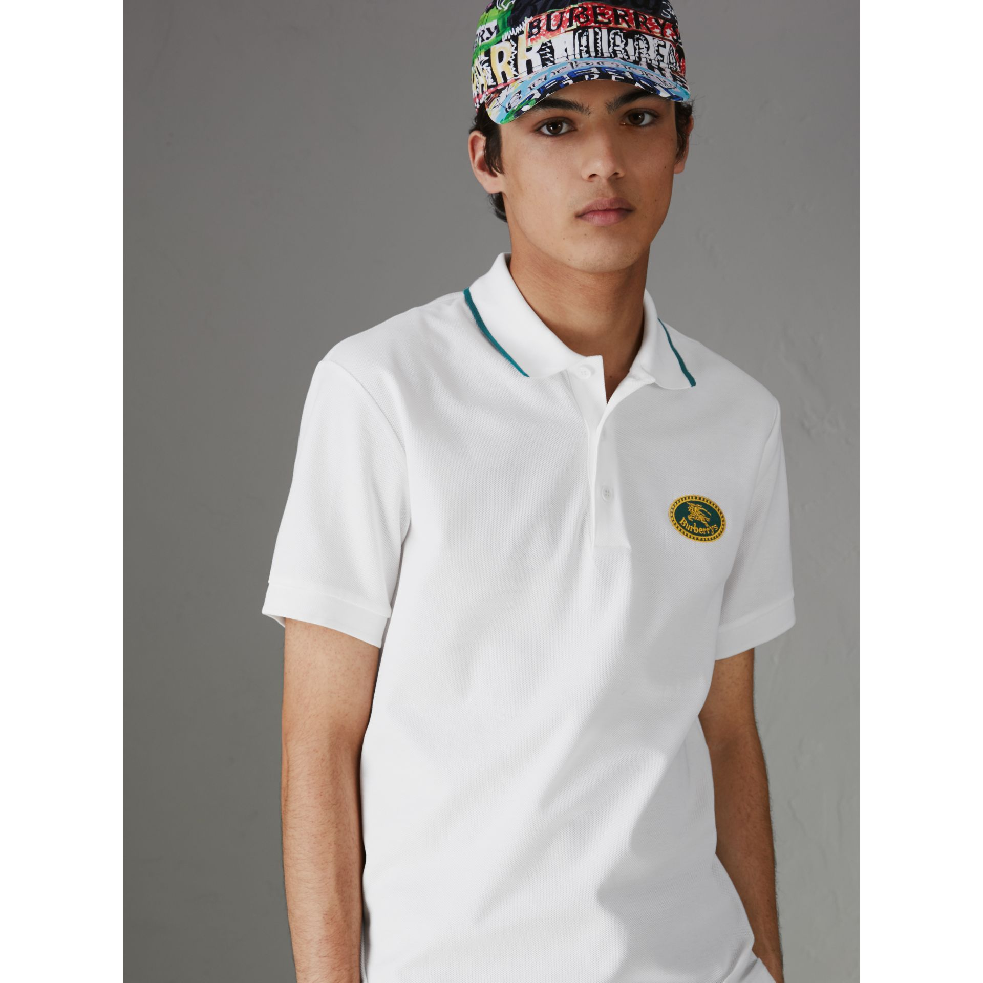 Archive Logo Cotton Piqué Polo Shirt in White - Men | Burberry Singapore - gallery image 0