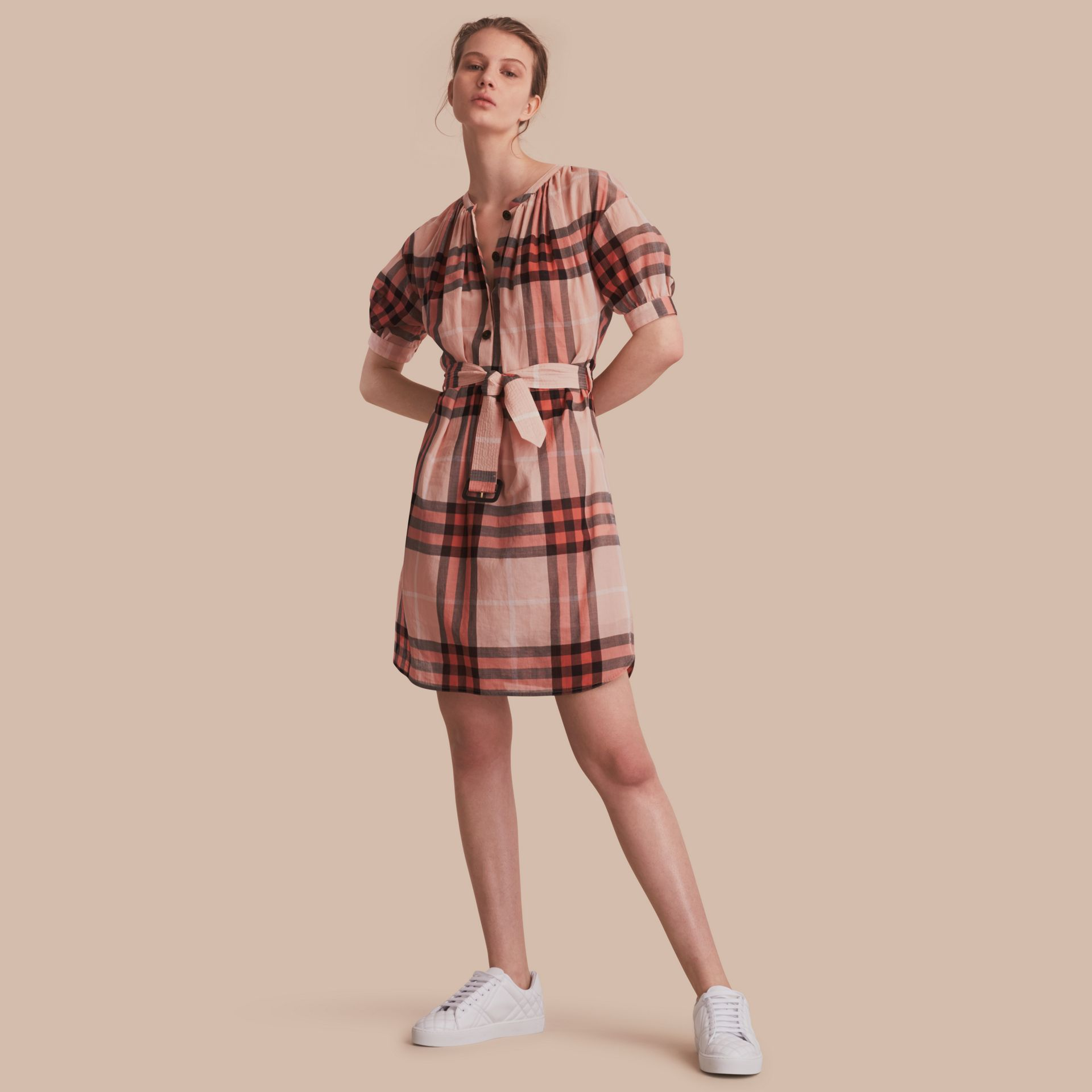 Short-sleeved Collarless Check Cotton Dress in Apricot - Women | Burberry - gallery image 1