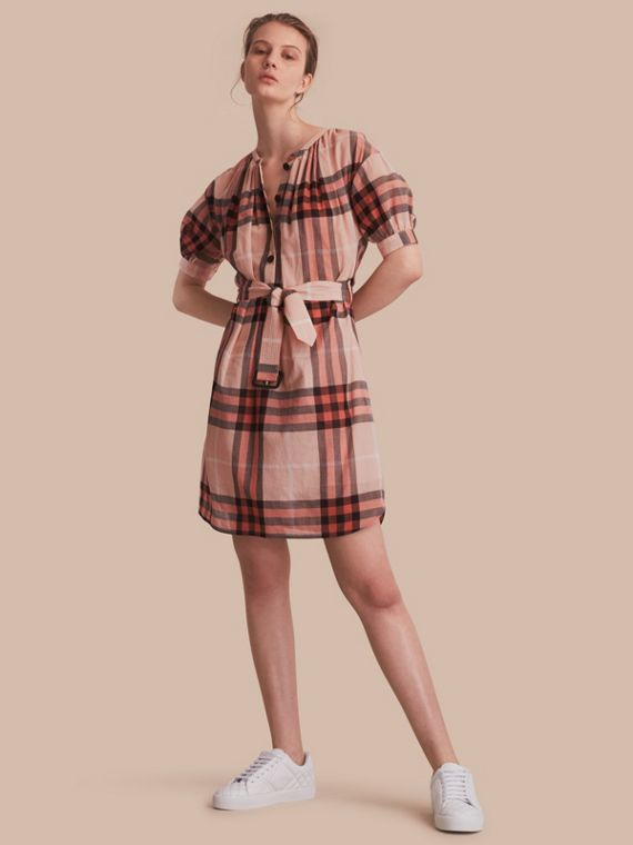 Short-sleeved Collarless Check Cotton Dress - Women | Burberry