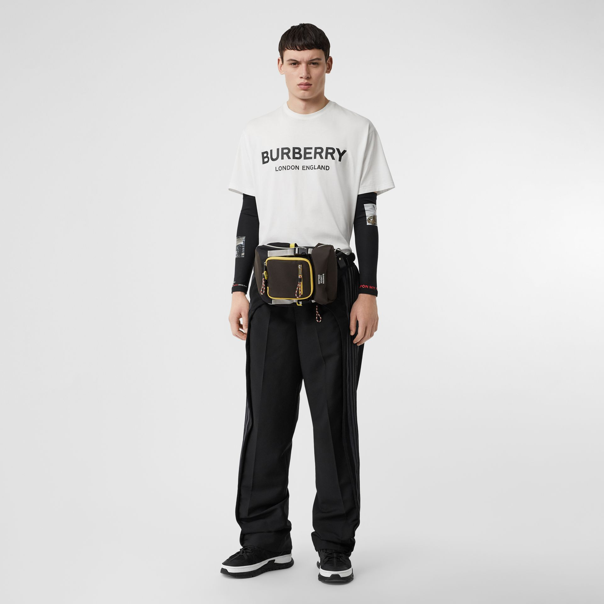 Logo Print Cotton T-shirt in White - Men | Burberry Singapore - gallery image 0