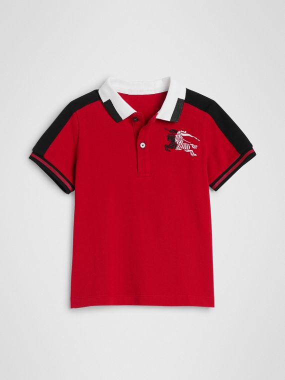 Stripe Detail Cotton Polo Shirt in Bright Red