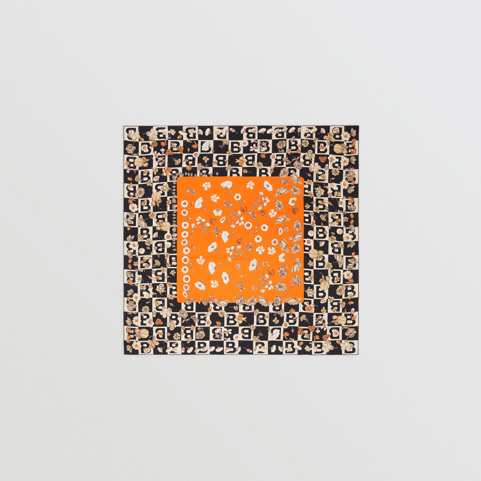 B Motif and Floral Print Silk Square Scarf in Bright Orange | Burberry United States - gallery image 0
