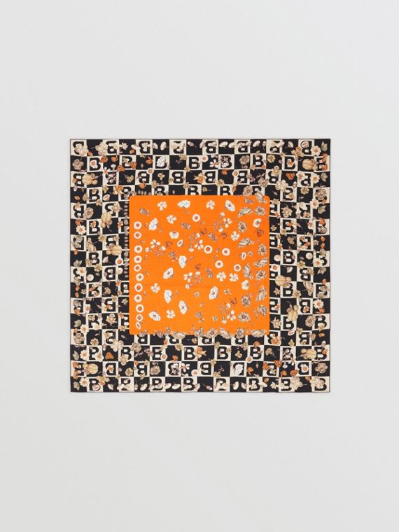 B Motif and Floral Print Silk Square Scarf in Bright Orange