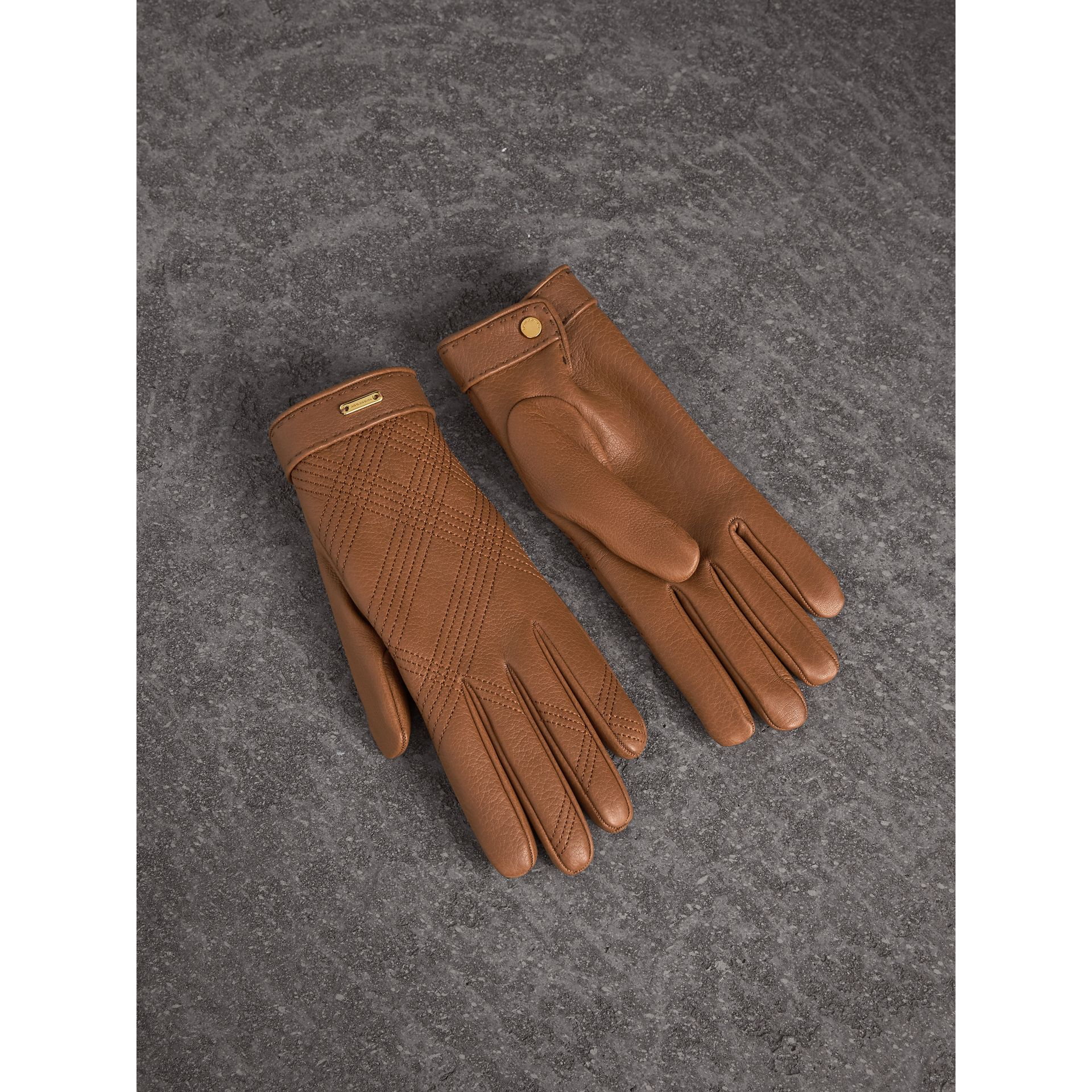 Check Embroidered Lambskin Gloves in Bright Toffee - Women | Burberry United States - gallery image 0