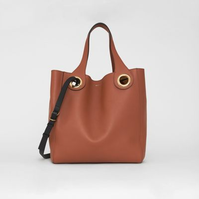 The Leather Grommet Detail Tote by Burberry