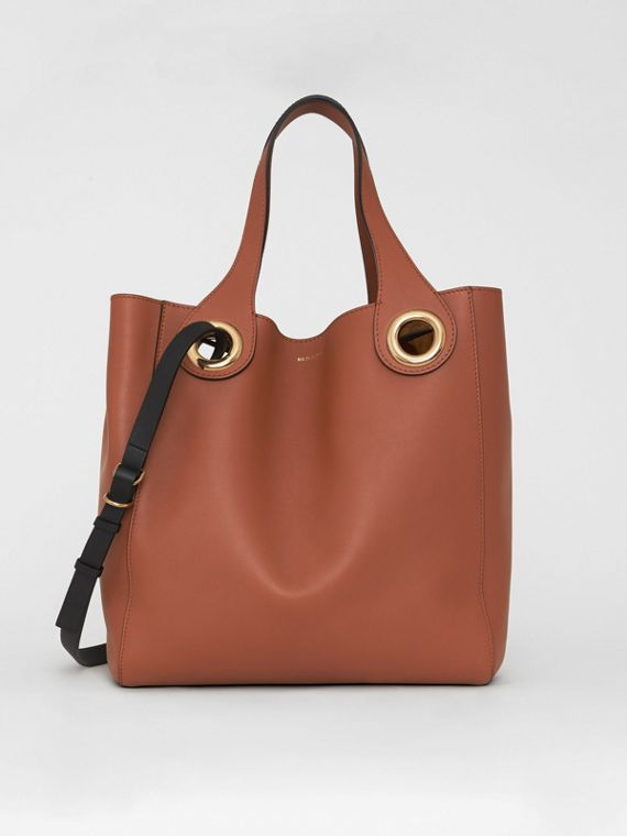The Leather Grommet Detail Tote in Tan