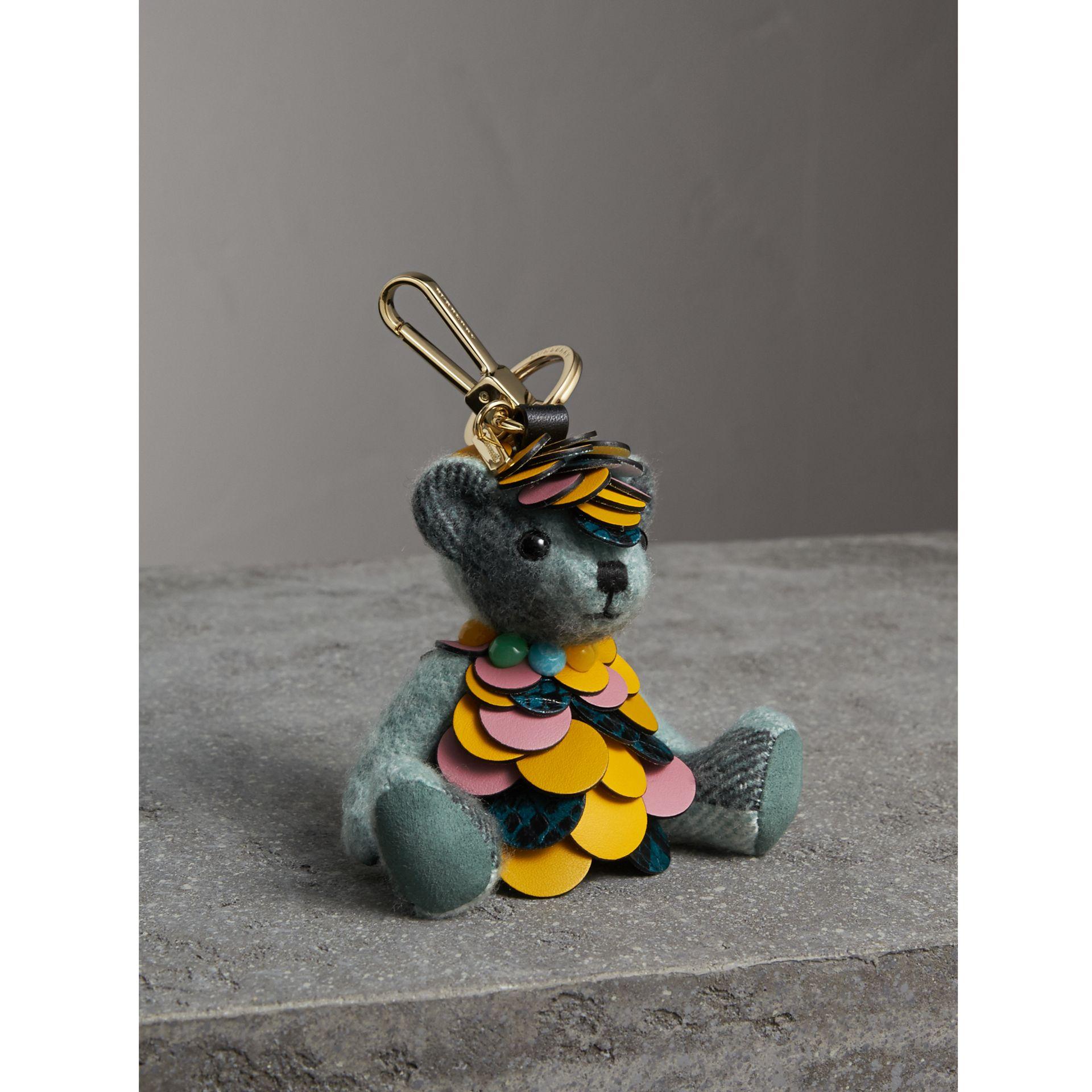 Thomas Bear Charm in Check Cashmere with Beasts Detail in Dusty Mint - Women | Burberry - gallery image 1