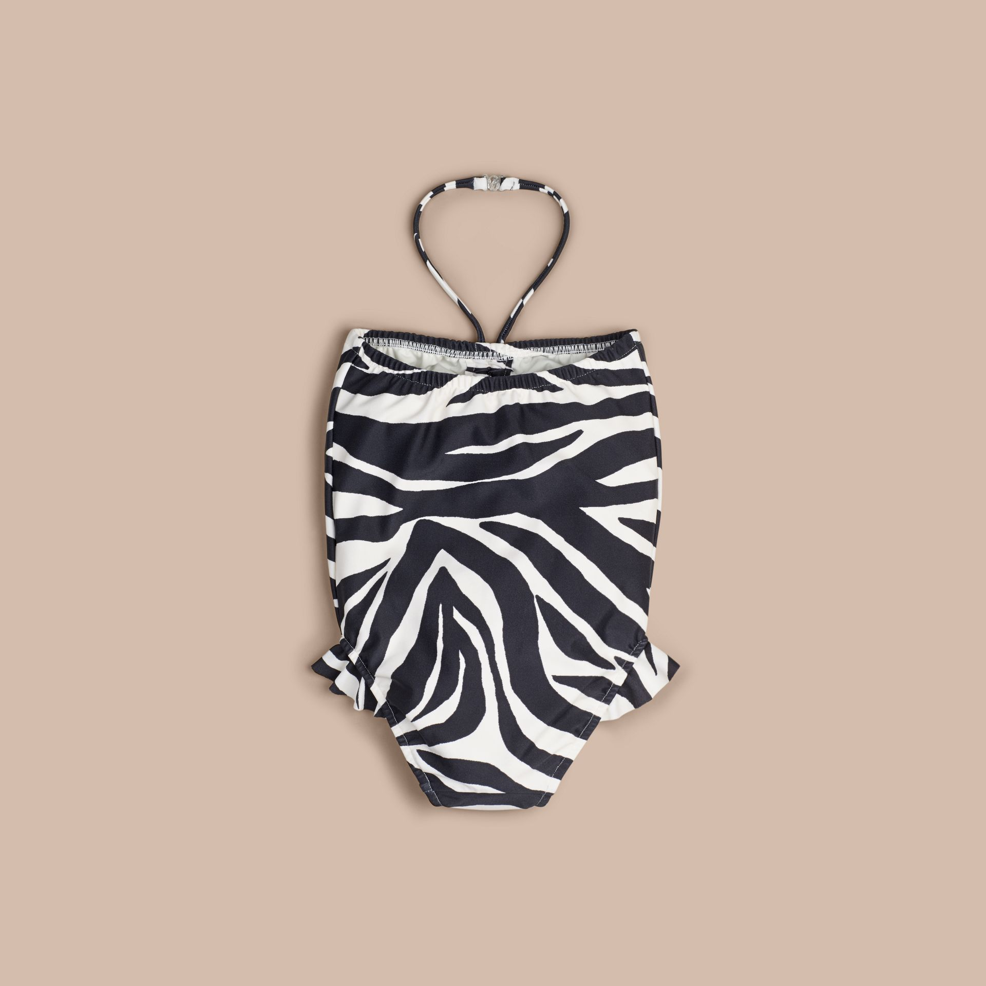 Black Zebra Print Halter-neck Swimsuit - gallery image 2
