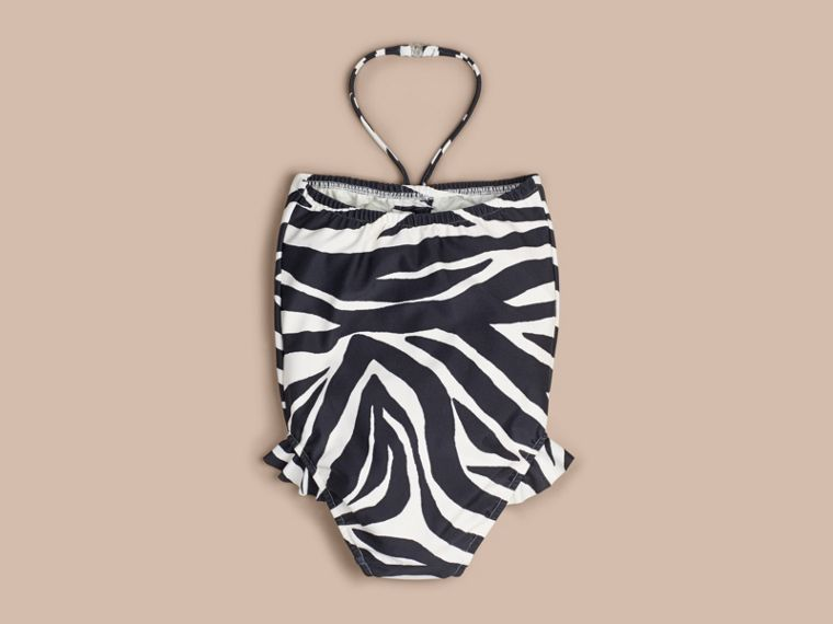 Black Zebra Print Halter-neck Swimsuit - cell image 1