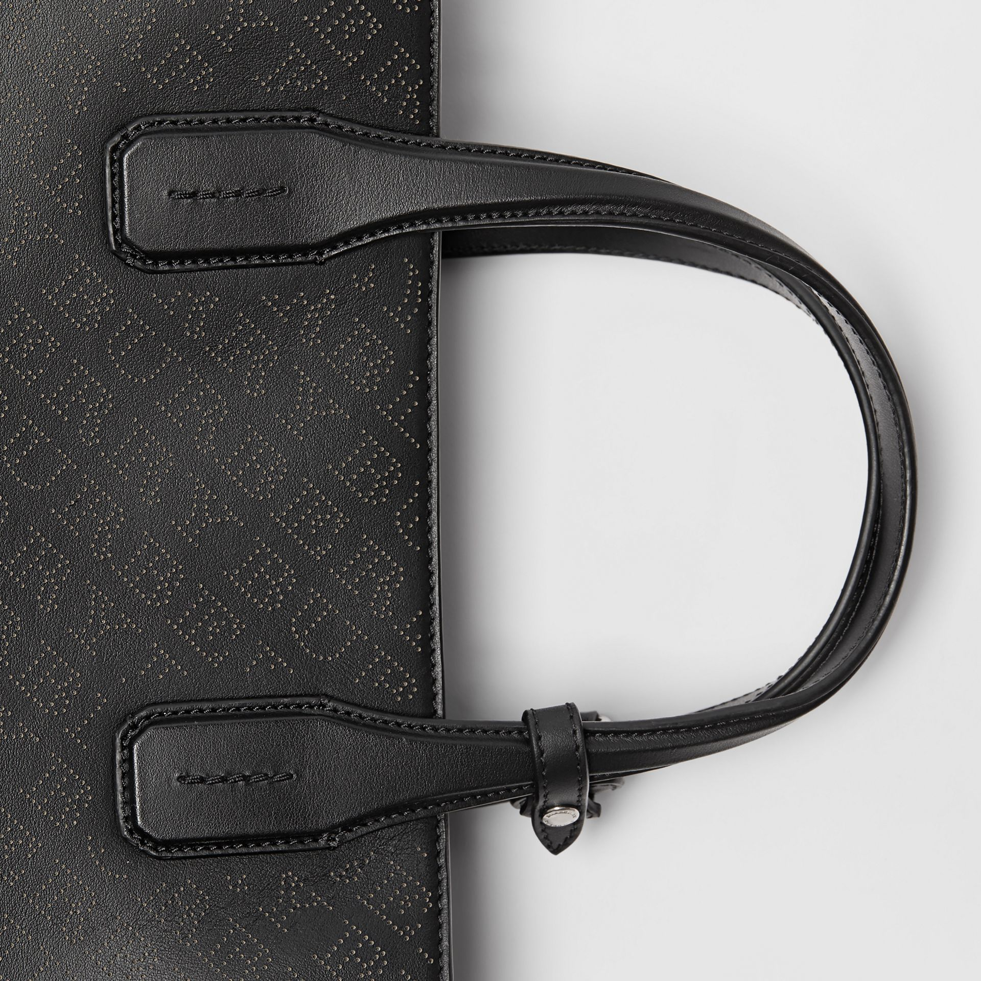The Medium Banner in Perforated Logo Leather in Black - Women | Burberry United Kingdom - gallery image 1