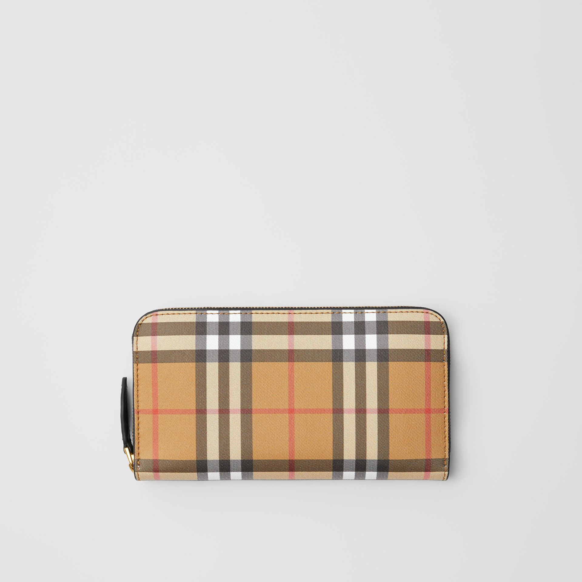 Vintage Check and Leather Ziparound Wallet in Black - Women | Burberry United Kingdom - gallery image 0