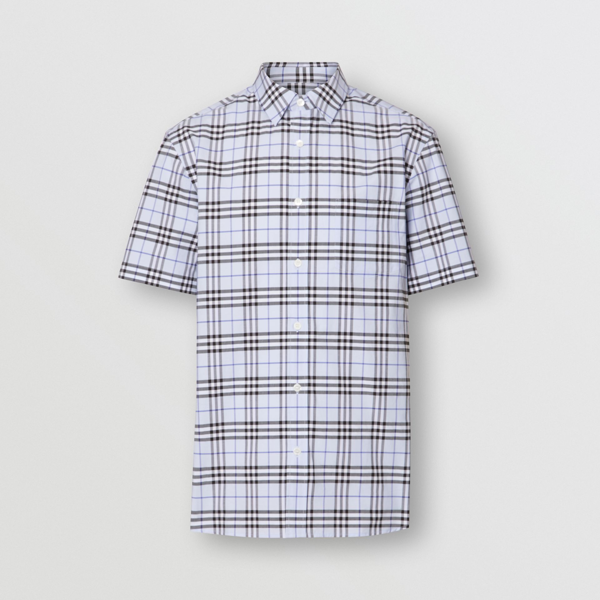 Short-sleeve Check Stretch Cotton Shirt in Sky Blue - Men | Burberry United Kingdom - gallery image 3