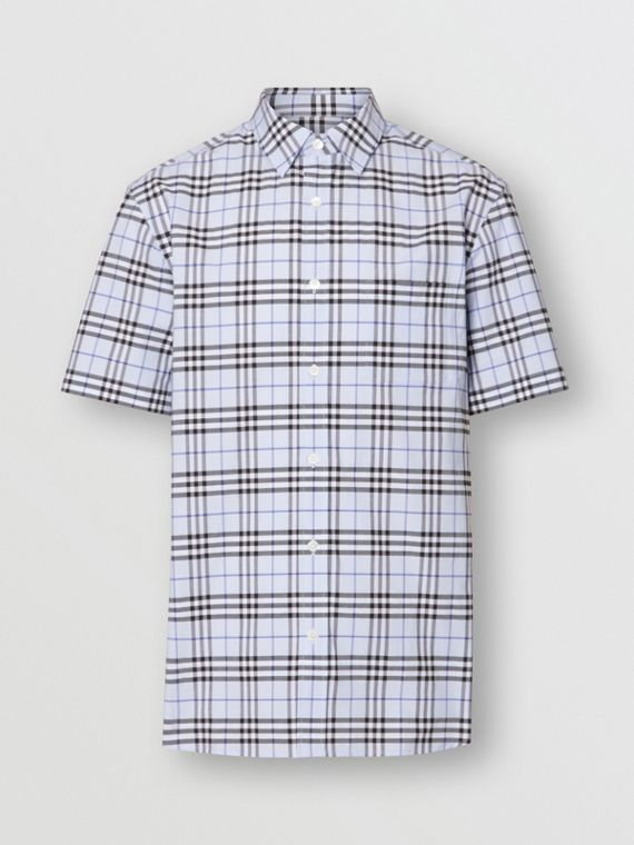 Short-sleeve Check Stretch Cotton Shirt in Sky Blue