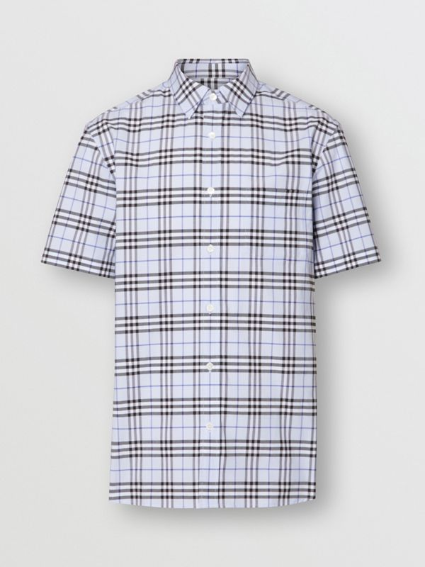 Short-sleeve Check Stretch Cotton Shirt in Sky Blue - Men | Burberry - cell image 3