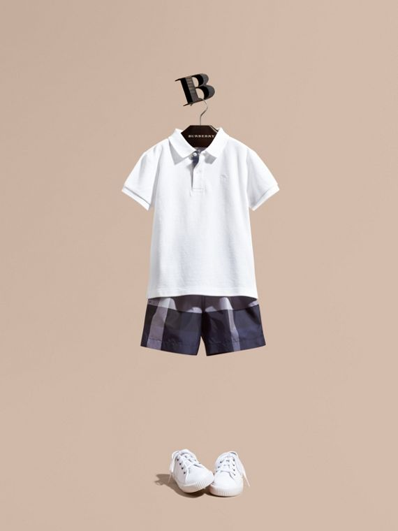 Check Technical Swim Shorts - Boy | Burberry