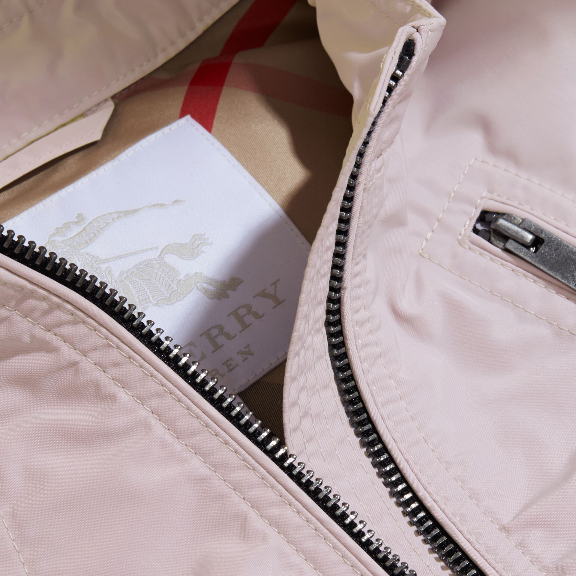 Hooded Packaway Technical Jacket in Stone White - Girl | Burberry Canada - gallery image 2