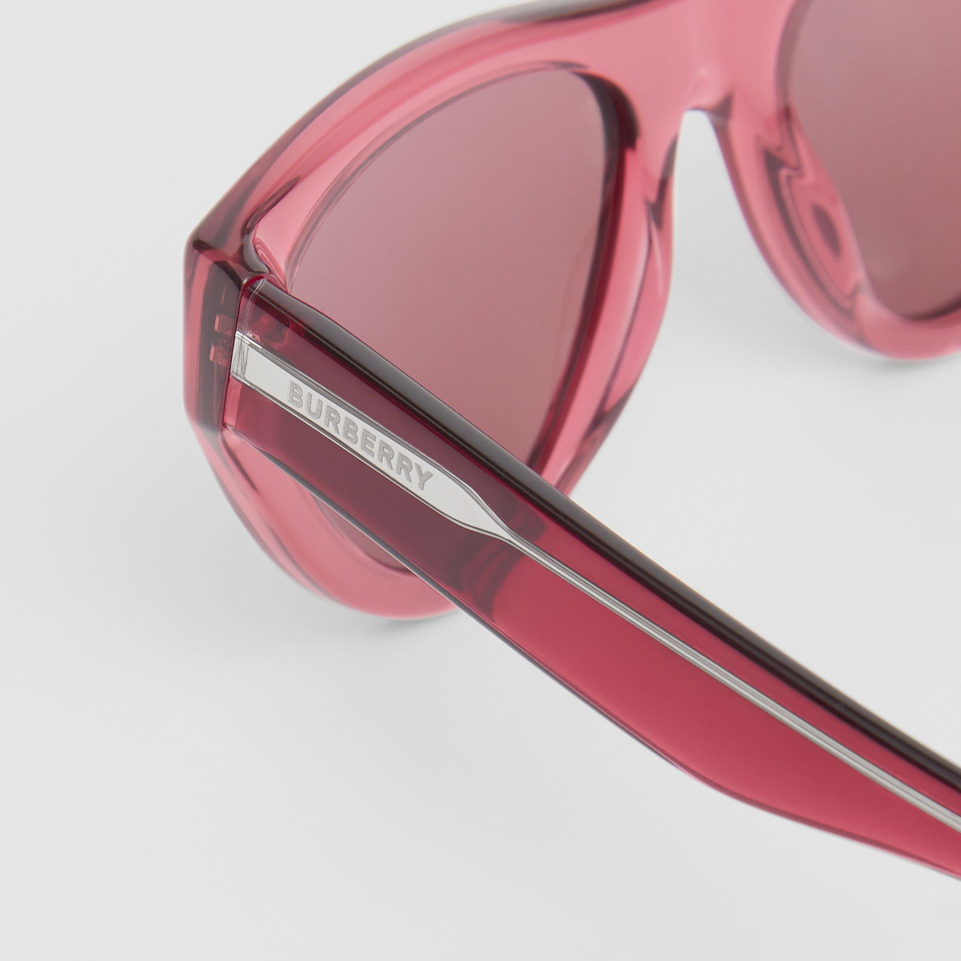 Triangular Frame Sunglasses in Cranberry - Women | Burberry - gallery image 1