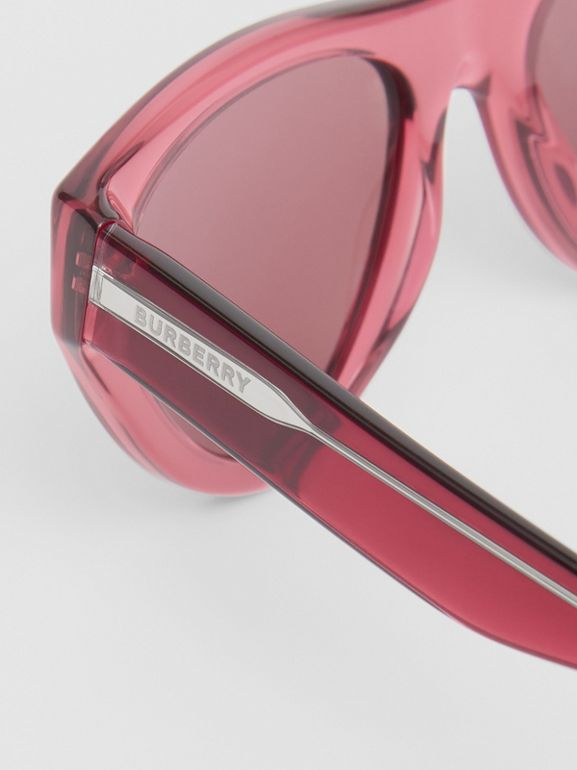 Triangular Frame Sunglasses in Cranberry - Women | Burberry United Kingdom - cell image 1