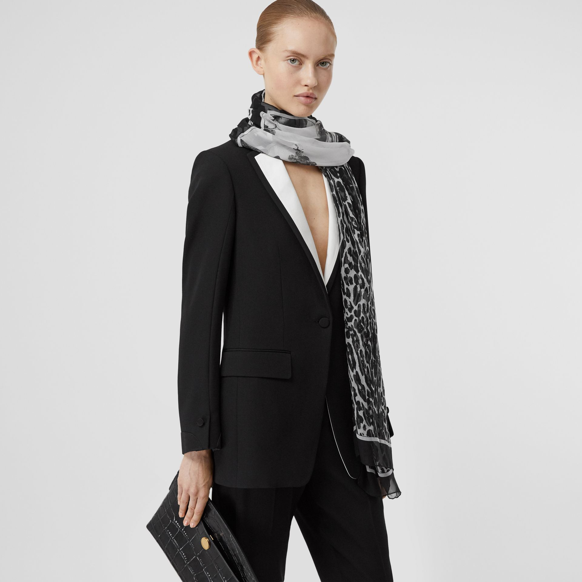 Angel and Leopard Print Silk Scarf in Black | Burberry - gallery image 2