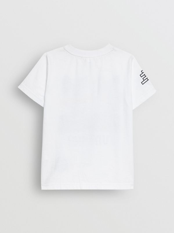 Fox Print Cotton T-shirt in White | Burberry - cell image 3