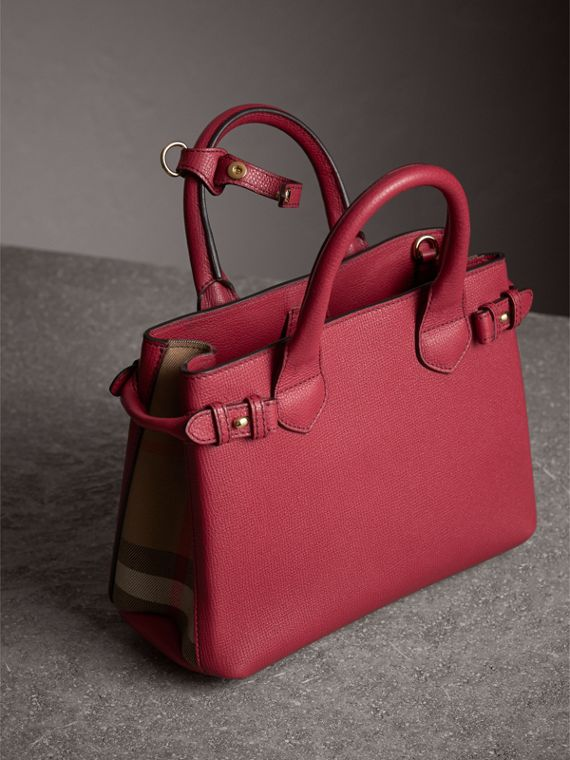 The Small Banner in Leather and House Check in Russet Red - Women | Burberry Canada - cell image 3