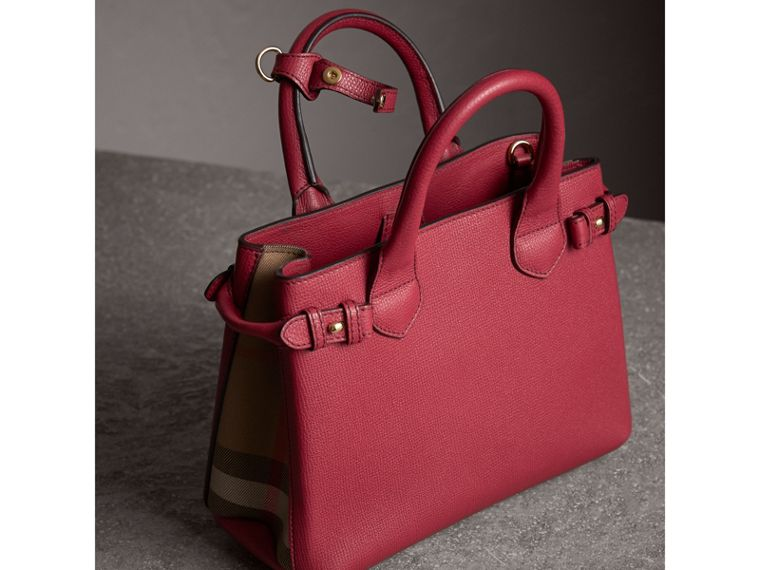 Petit sac The Banner en cuir et coton House check (Rouge Feuille Morte) - Femme | Burberry - cell image 4