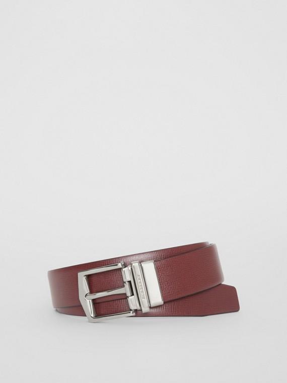 Cintura double face in pelle London (Rosso Borgogna/nero)