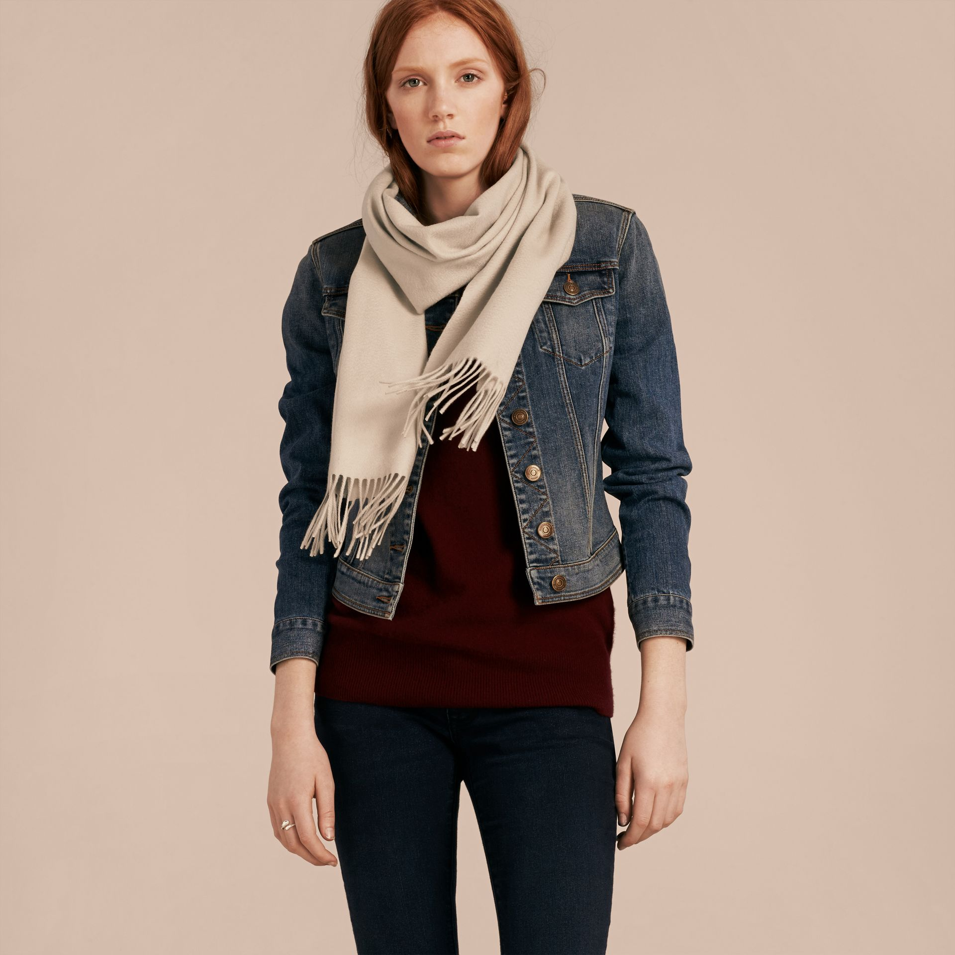 The Classic Cashmere Scarf in Stone - gallery image 3