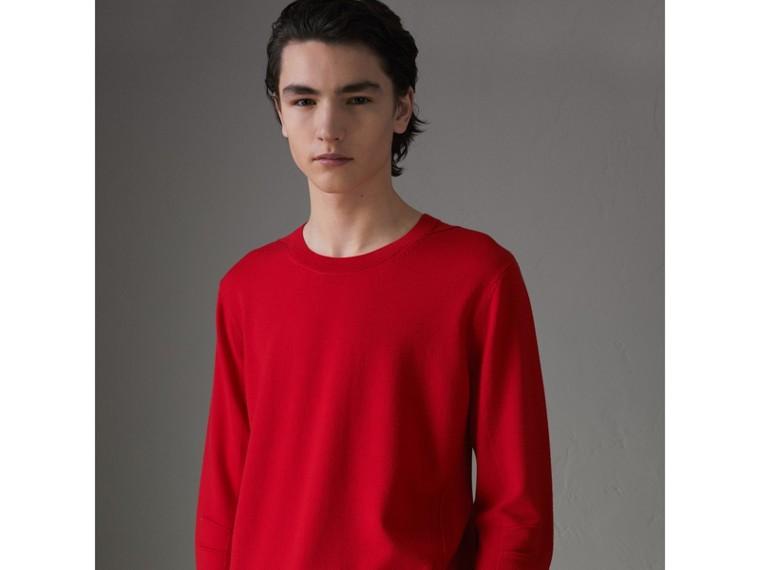 Jersey en lana de merino con detalles a cuadros (Cobalto Oscuro) - Hombre | Burberry - cell image 4