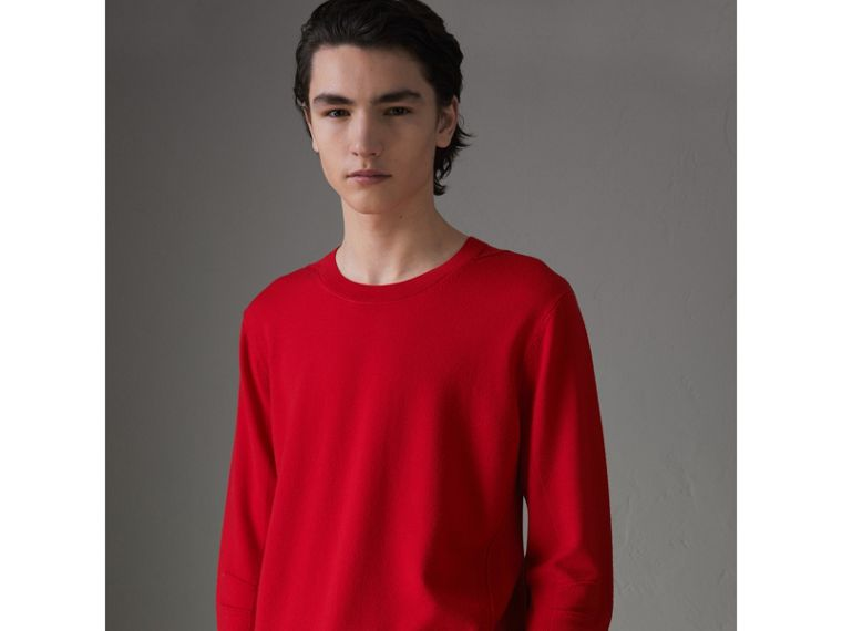 Check Detail Merino Wool Sweater in Dark Cobalt - Men | Burberry Singapore - cell image 4