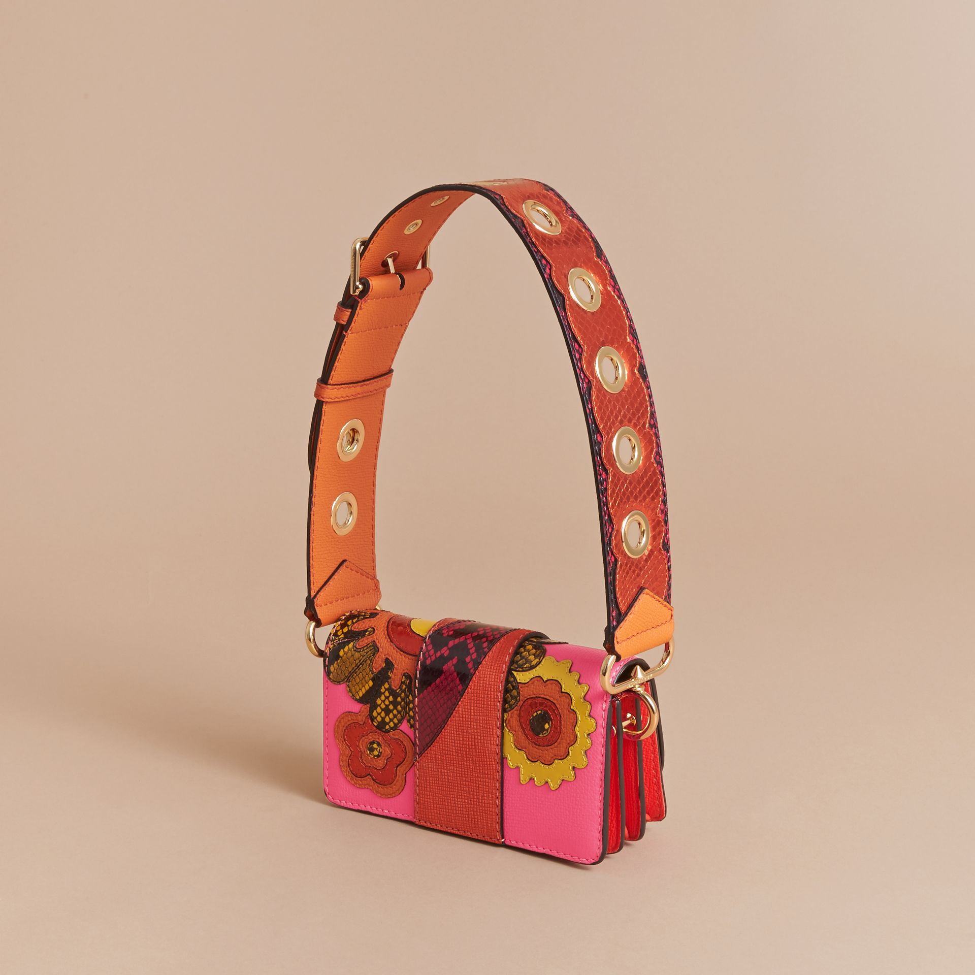 The Small Buckle Bag in Leather and Snakeskin Appliqué - gallery image 5