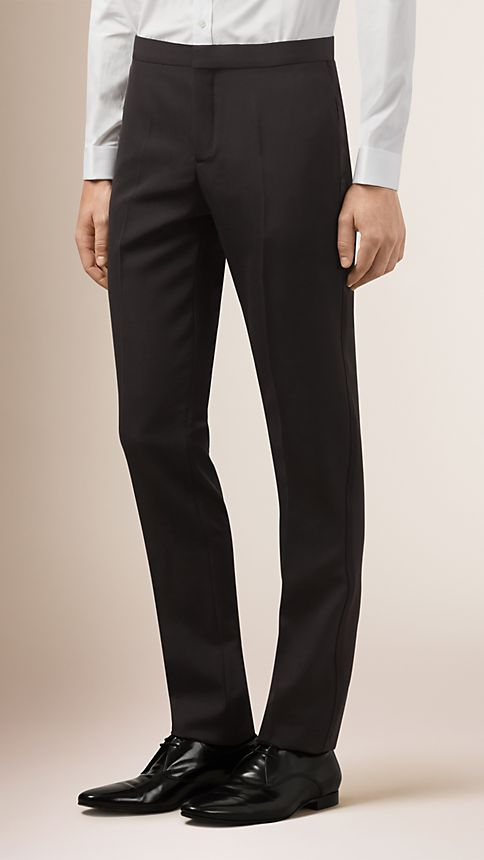 Black Virgin Wool Tuxedo Trousers - Image 1