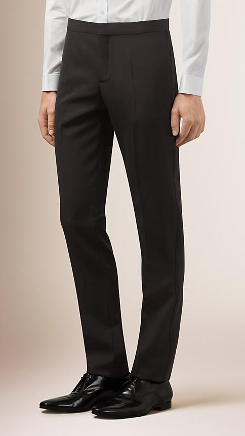 Noir Pantalon de smoking en laine vierge - Image 1