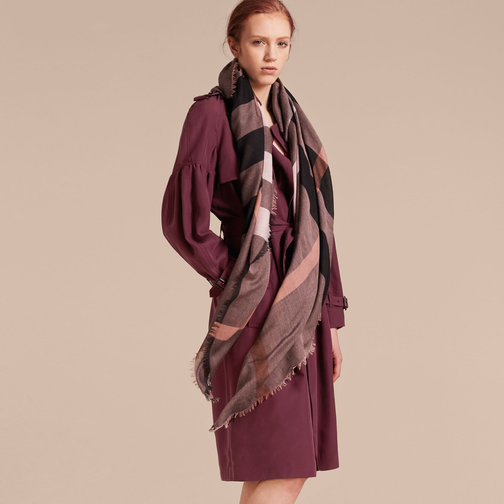 Check Modal and Wool Square Scarf in Antique Rose - Women | Burberry United Kingdom - gallery image 3