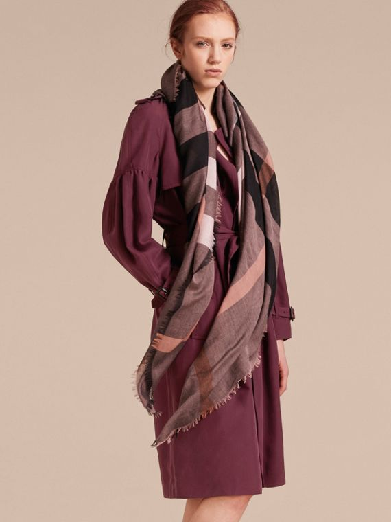 Check Modal and Wool Square Scarf in Antique Rose - Women | Burberry - cell image 2