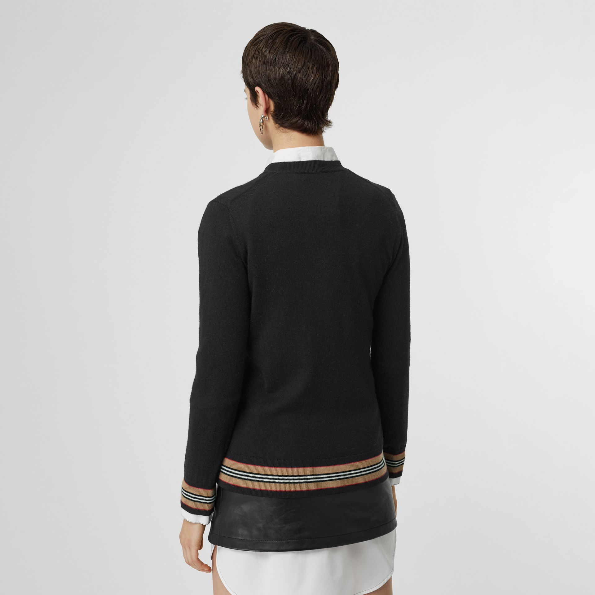 Icon Stripe Detail Merino Wool Sweater in Black - Women | Burberry Hong Kong - gallery image 2