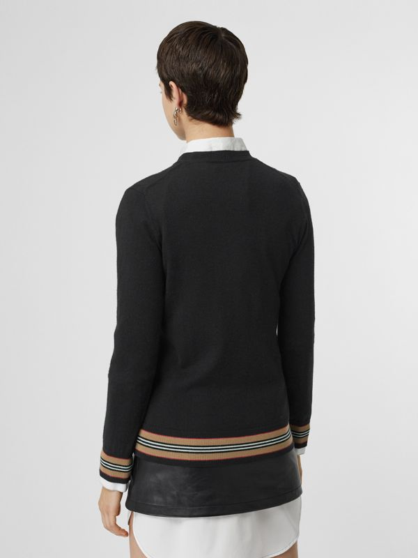 Icon Stripe Detail Merino Wool Sweater in Black - Women | Burberry Hong Kong - cell image 2