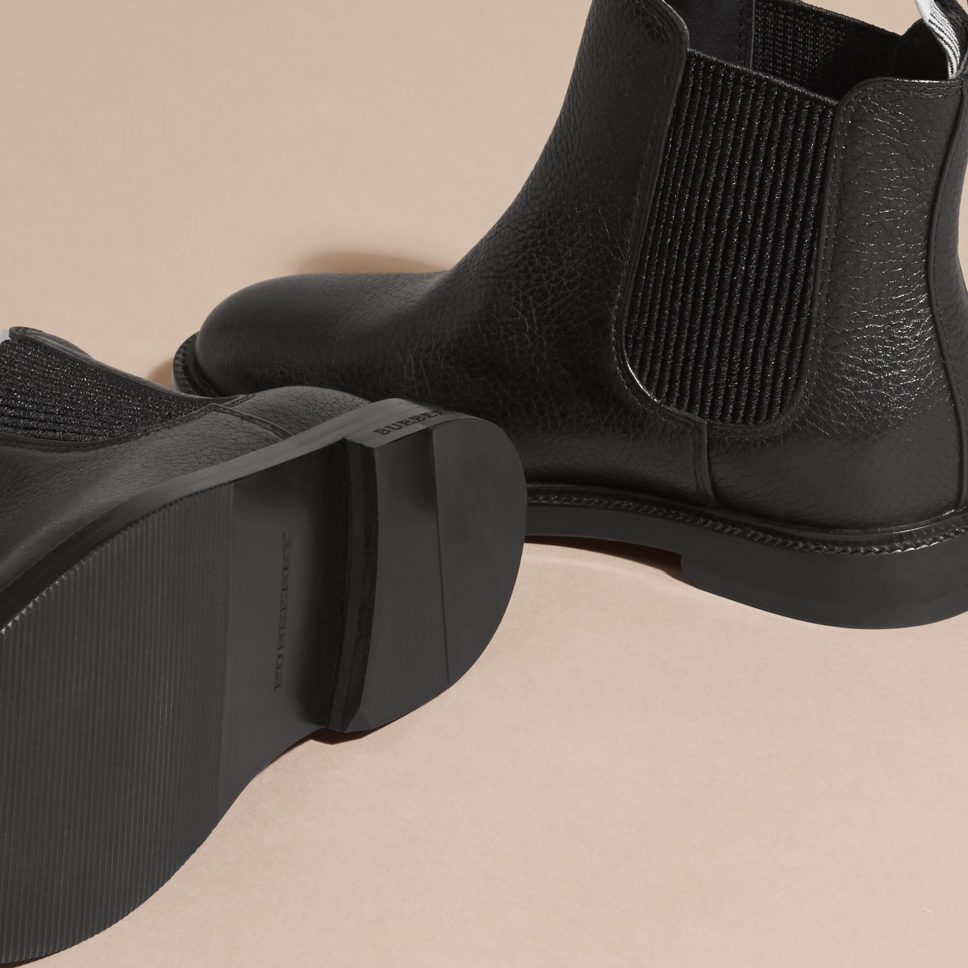 Black Grainy Leather Chelsea Boots - gallery image 2
